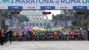 Agenten bij het begin van de 24ste uitgave van de Marathon Fr van Rome Stock Fotografie