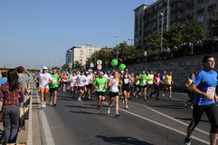 Agenten in de marathon in Boedapest Stock Fotografie
