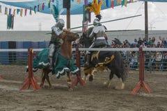 Agentes como caballeros medievales Foto de archivo libre de regalías