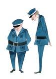 Agentes da polícia bonitos ilustrados Fotos de Stock Royalty Free