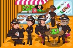 Agentes da polícia em uma loja dos anéis de espuma Fotos de Stock