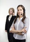 Agentes de la señora centro de atención telefónica imagenes de archivo