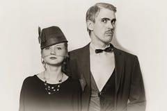 Agentes jovenes del teatro de los pares en un estilo retro foto de archivo
