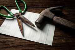 Agents battle hammers, scissors, paper Royalty Free Stock Photo