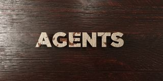 Agents - titre en bois sale sur l'érable - image courante gratuite de redevance rendue par 3D Photo stock
