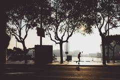 Agentsilhouet in de ochtend, Barcelona Stock Afbeelding