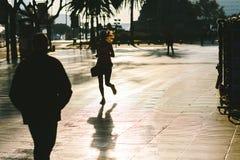 Agentsilhouet, La Rambla in Barcelona, Spanje stock afbeeldingen