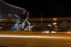 Agentstandbeeld in Athene bij nacht Stock Afbeelding