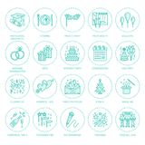 Agenzia di evento, linea icona di vettore di organizzazione di nozze Servizio del partito - approvvigionamento, torta di complean illustrazione vettoriale