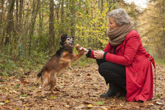 Ager kobieta i jej pies Zdjęcia Royalty Free