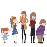 Ages. Timeline of a women, no use of gradients or transparency Royalty Free Stock Photos