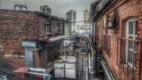 Ages. A view from the window of an old beer factory royalty free stock photos