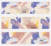 Agg texturerade uppsättningen för banret för slaglängdkrämblått vektor illustrationer