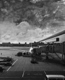 Aggancio dell'aeroplano Fotografie Stock