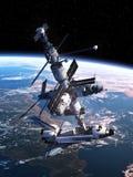 Aggancio della navetta spaziale con la stazione spaziale Fotografie Stock