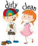 Aggettivi opposti sporchi e puliti illustrazione di stock