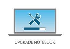 aggiornamento del computer portatile del computer con una riparazione del carico e dell'icona della striscia Immagini Stock Libere da Diritti