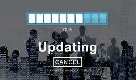 Aggiornamento del concetto di tecnologia di dati di programma di aggiornamento fotografie stock