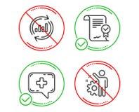 Aggiorni i dati, la chiacchierata medica e l'insieme approvato delle icone di accordo Segno degli impiegati Vettore illustrazione di stock