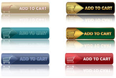 Aggiunga al carrello - insieme dei bottoni di web Fotografie Stock