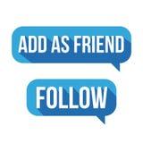 Aggiunga come amico, segua il fumetto del bottone Fotografia Stock