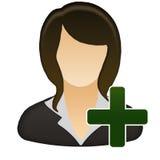 Aggiunga l'icona femminile dell'utente Immagine Stock