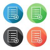 Aggiunga l'illustrazione piana di vettore dell'icona del documento della lista Fotografia Stock