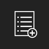 Aggiunga l'illustrazione piana di vettore dell'icona del documento della lista Immagini Stock Libere da Diritti