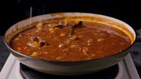 Aggiungendo il sale nel giapponese rinforzi il curry nella padella video d archivio