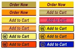 12 aggiungono al carretto ed ordinano ora i bottoni Immagini Stock Libere da Diritti