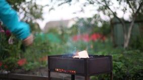 Aggiunta del legno in fiamma bruciante video d archivio