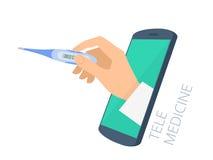 Aggiusti il termometro della tenuta della mano del ` s con il measu dello schermo del telefono Fotografia Stock