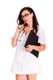Aggiusti la donna isolata sul personale bianco del personale medico del fondo fotografie stock libere da diritti