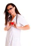 Aggiusti la donna isolata sul personale bianco del personale medico del fondo fotografia stock libera da diritti