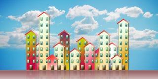 Agglomerato urbano colorato di un sobborgo - illustrazione a di concetto fotografia stock