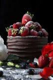 Agglutini con cioccolato che decora con la fragola ed il lampone Fotografia Stock
