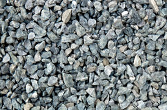 Aggregate - light gray coarse stones, crushed at a stone pit, gravel pattern. A closeup of a pile of loose rough stones taken at a stone pit. The gravel / grit Royalty Free Stock Image