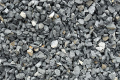 Aggregate Of Coarse Gray Stones, Crushed At A Stone Pit, Gravel Pattern Stock Images