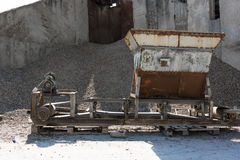 Aggregate sifting and packaging. At an concrete manufacturing plant Stock Photography