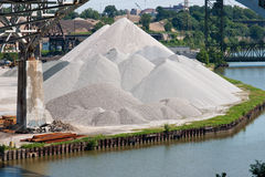 Aggregate Storage. Aggregate materials used in the production of concrete are piled high at a manufacturing plant on the bank of the Cuyahoga River in Cleveland royalty free stock photos