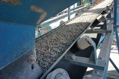 Aggregate transportation by conveyor belt at concrete mixing plant. Aggregate transportation by conveyor belt to mixing machine at concrete batching plant stock image