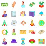 Aggregation icons set, cartoon style Royalty Free Stock Image