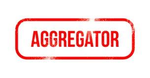 Aggregator - caucho rojo del grunge, sello Foto de archivo libre de regalías