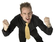 Aggression. Angry man with fists up and hostile expression Stock Photography