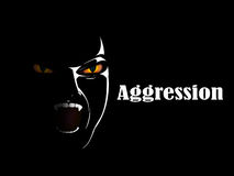 Aggression. Aggressive person next to inscription aggression Stock Photos