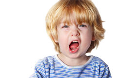 Aggression. A toddler boy yelling Royalty Free Stock Photos