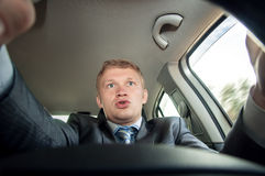 Aggression behind the wheel, the driver is surprised Stock Photo