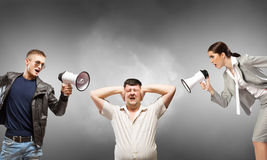 Aggression and humiliation in communication Stock Image