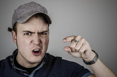 Aggression, man pointing Stock Photography