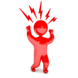 Aggression people. Man waving his fists, stomp feet, red with anger, on a white background, 3d render Stock Image